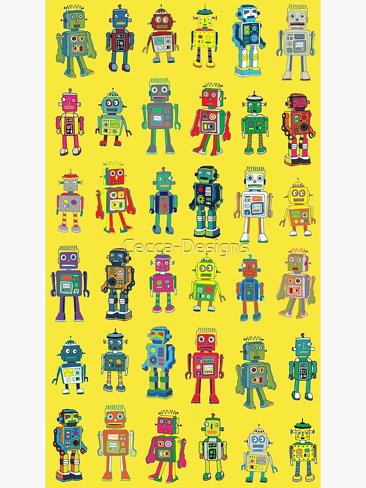 Robot Line-up on Yellow - fun pattern by Cecca Designs by Cecca-Designs