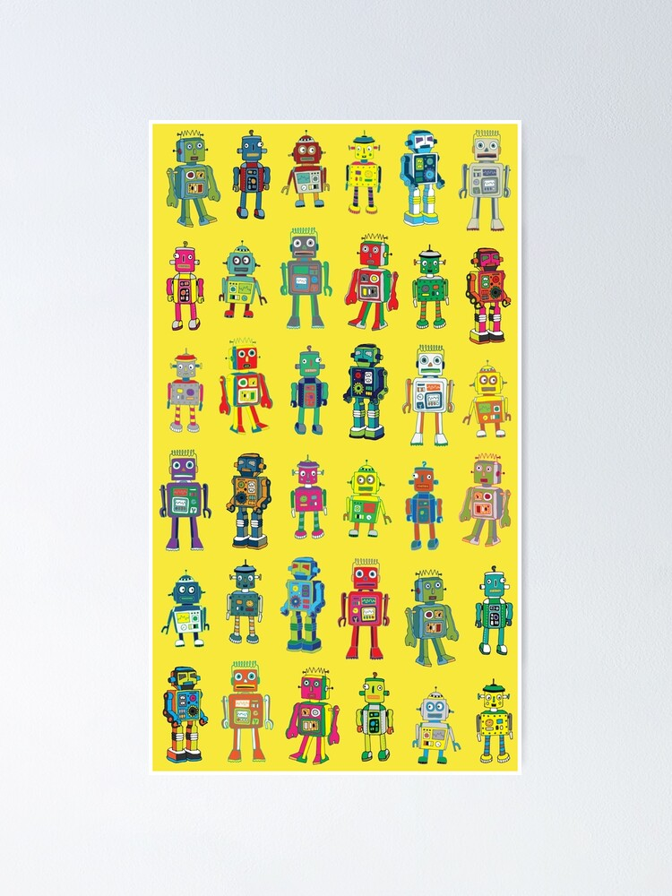 Alternate view of Robot Line-up on Yellow - fun pattern by Cecca Designs Poster