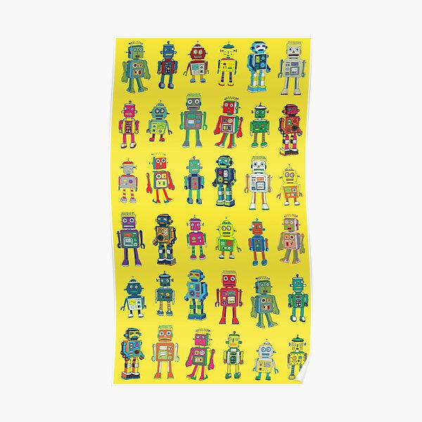 Robot Line-up on Yellow - fun pattern by Cecca Designs Poster