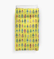 Robot Line-up on Yellow - fun pattern by Cecca Designs Duvet Cover