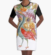 Botanical Watercolor Peacock  Graphic T-Shirt Dress