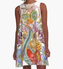 Botanical Watercolor Peacock  A-Line Dress