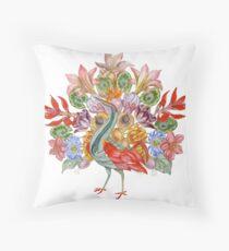 Botanical Watercolor Peacock  Floor Pillow