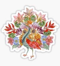 Botanical Watercolor Peacock  Glossy Sticker