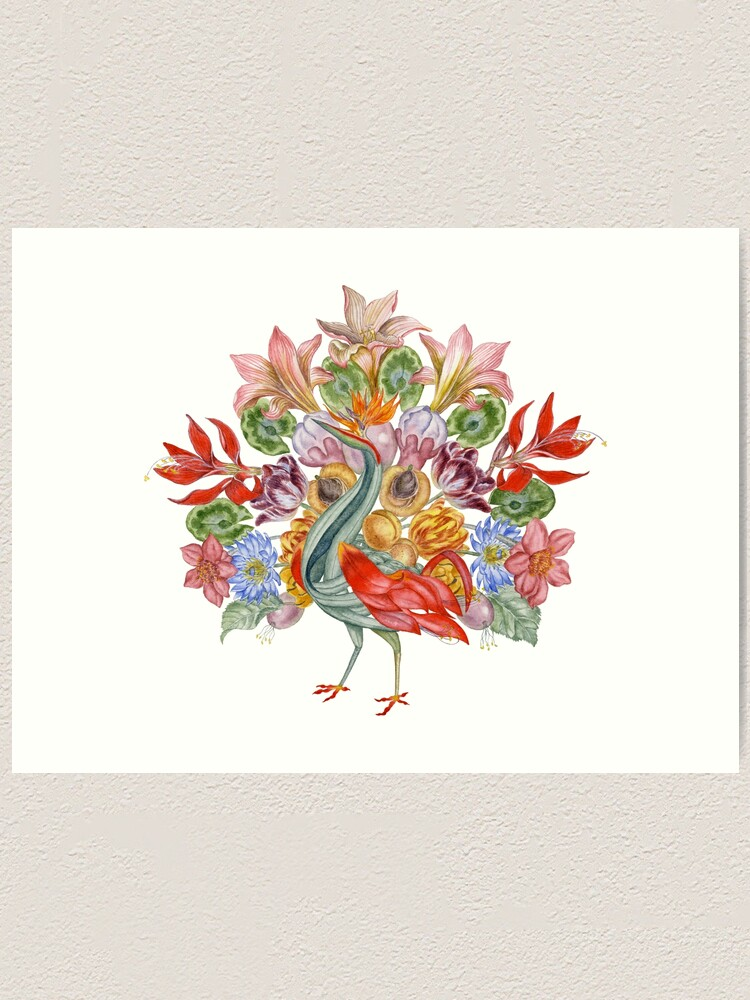 Alternate view of Botanical Watercolor Peacock  Art Print