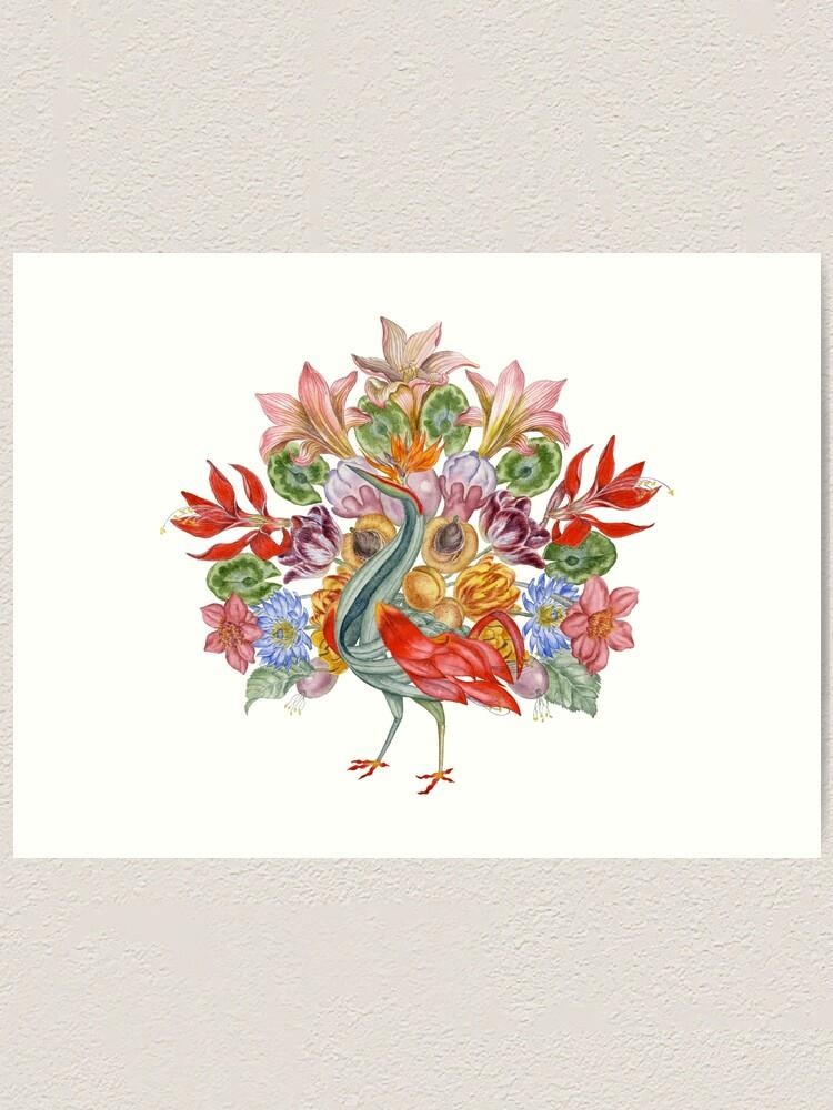 Alternate view of Botanical Watercolor Peacock  Art Print