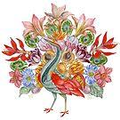 Botanical Watercolor Peacock  by HAJRA MEEKS