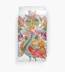 Botanical Watercolor Peacock  Duvet Cover