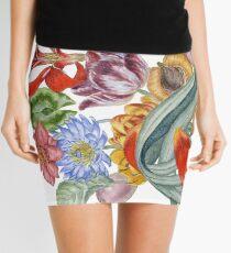 Botanical Watercolor Peacock  Mini Skirt
