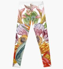 Botanical Watercolor Peacock  Leggings