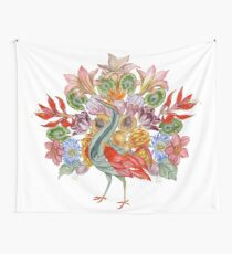 Botanical Watercolor Peacock  Wall Tapestry