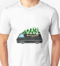 Vintage green car with Christmas tree. Christmas picture. Green truck. Unisex T-Shirt