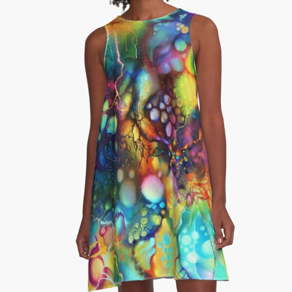 Post Mental Stains - Digital Painting A-Line Dress