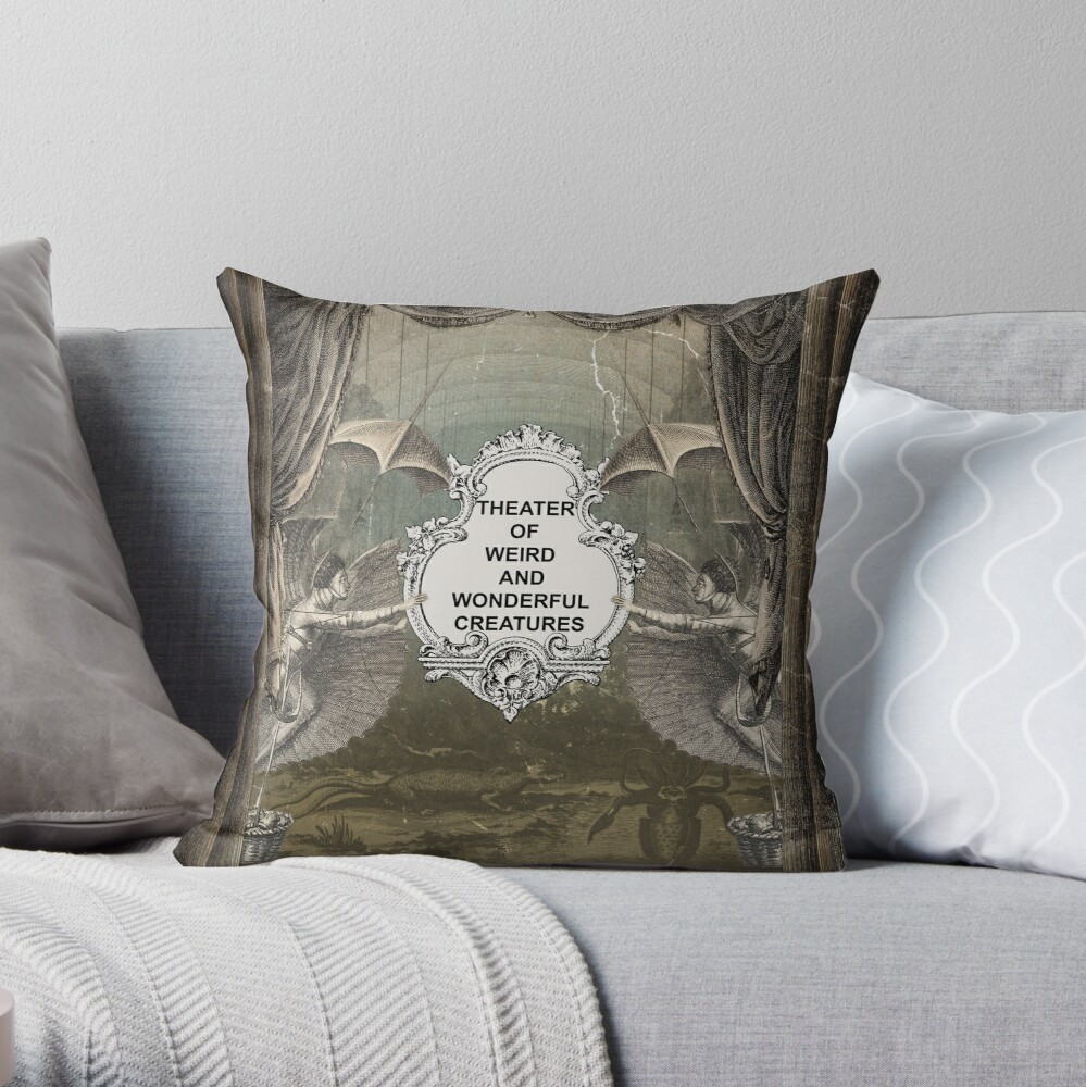 Theater of Weird and Wonderful Creatures Throw Pillow