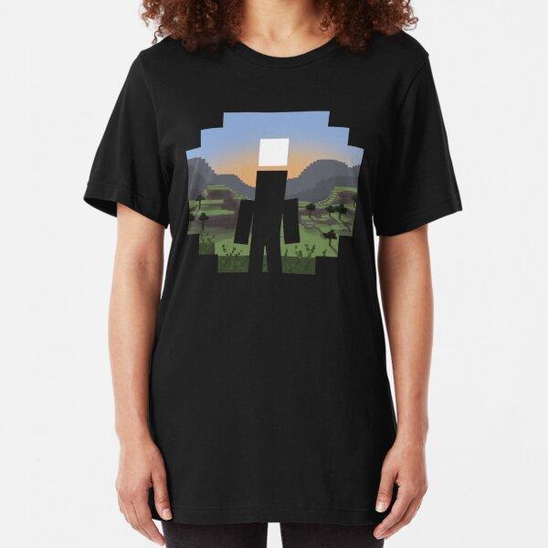 Minecraft Landscape Slim Fit T-Shirt