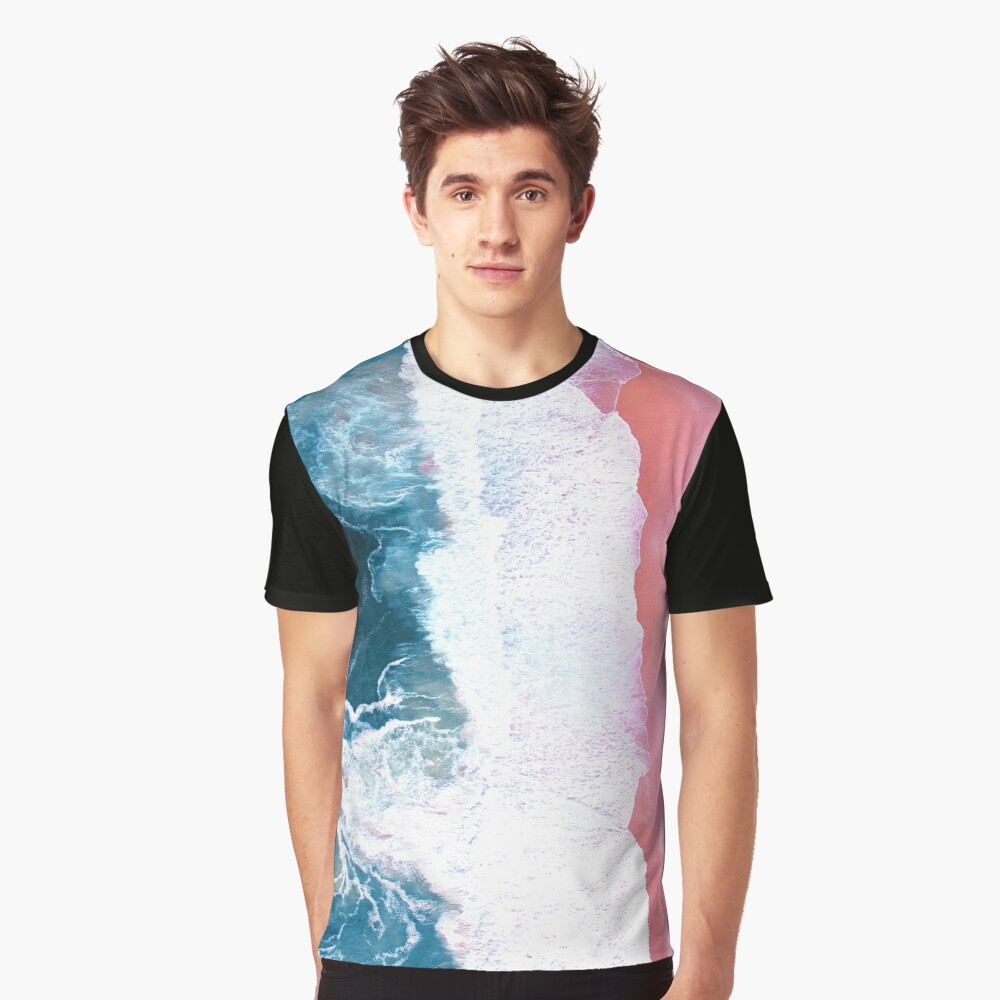 Aerial Beach, Ocean Waves Graphic T-Shirt