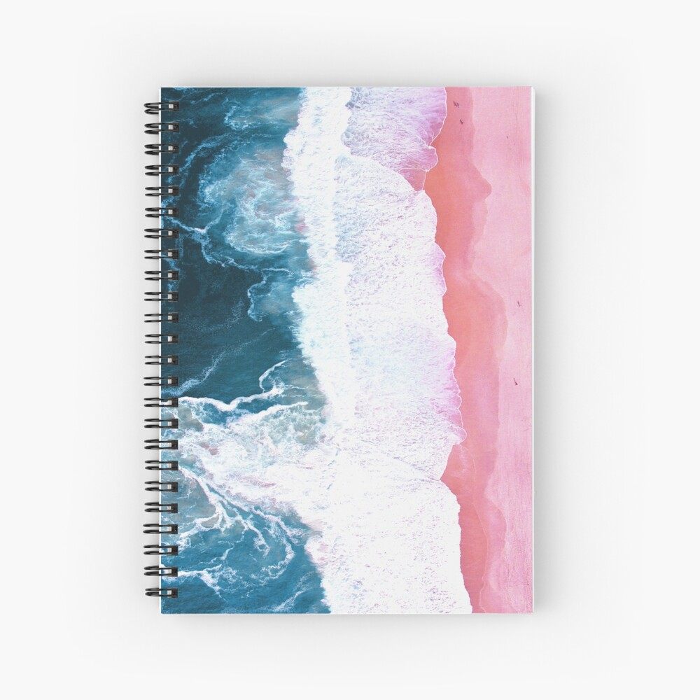 Aerial Beach, Ocean Waves Spiral Notebook