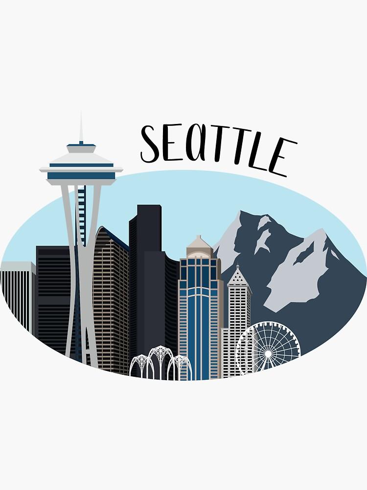 Seattle Skyline Illustration by erguller