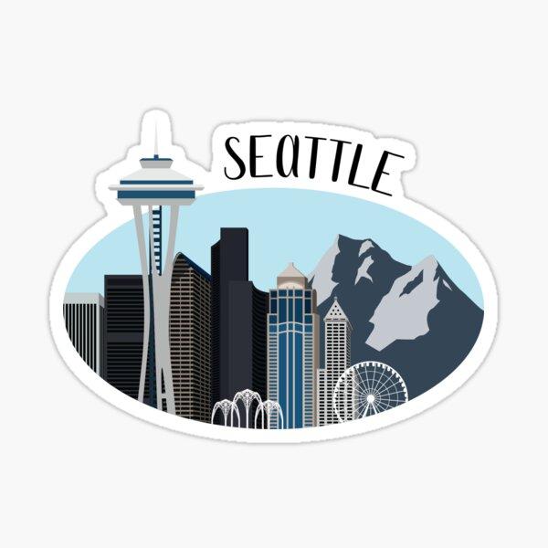Seattle Skyline Illustration Sticker