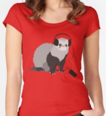Funny Musical Ferret Women's Fitted Scoop T-Shirt