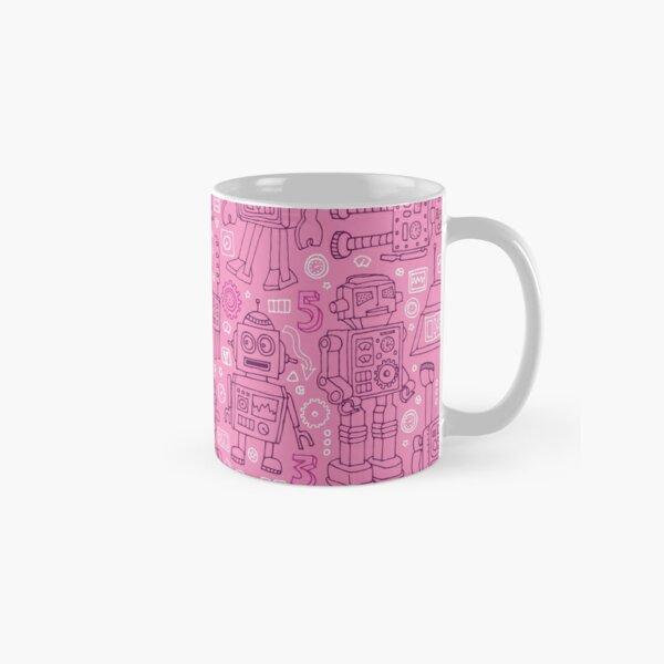 Robot pattern - Pink - fun pattern by Cecca Designs Classic Mug