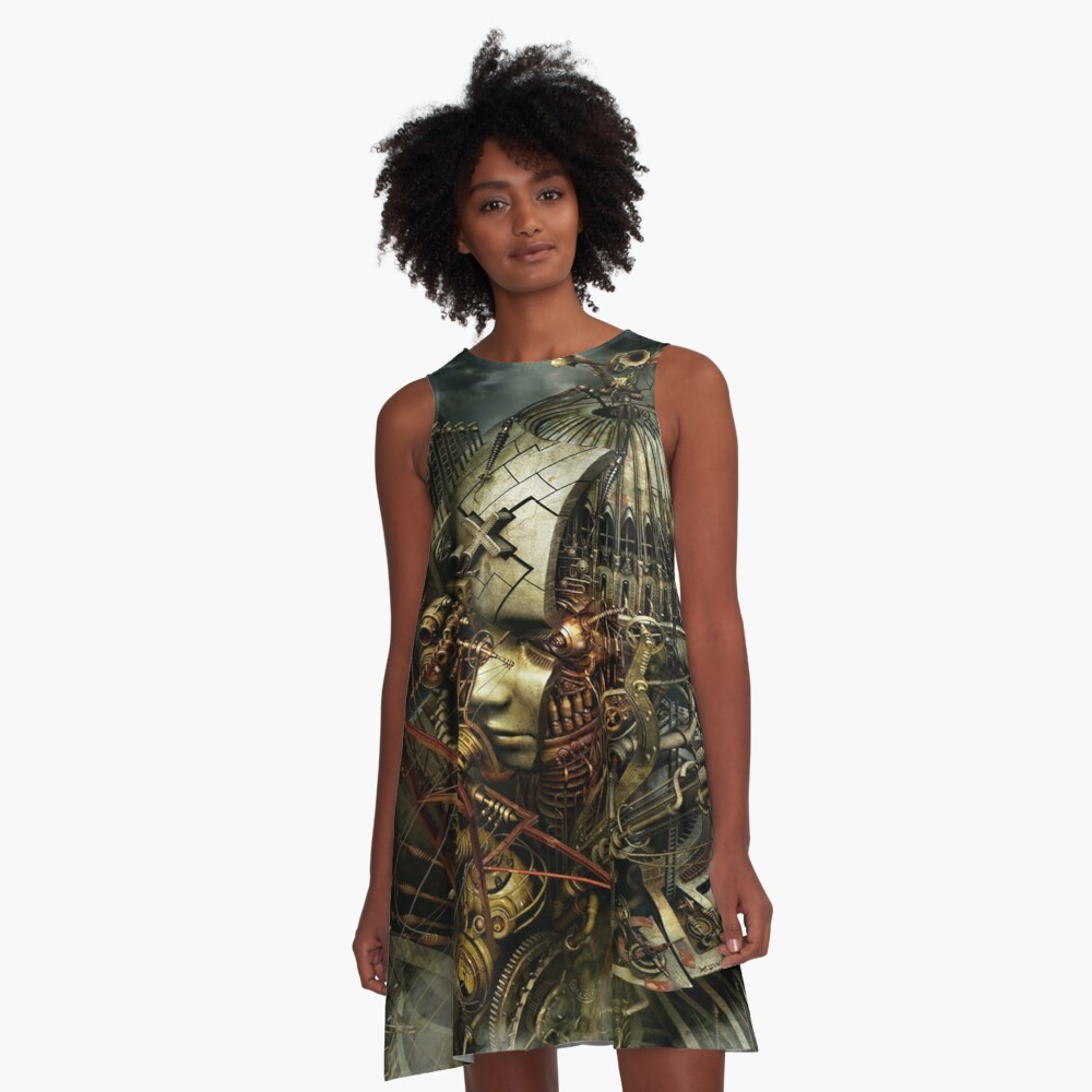 SteamPunk Surreal A-Line Dress Front