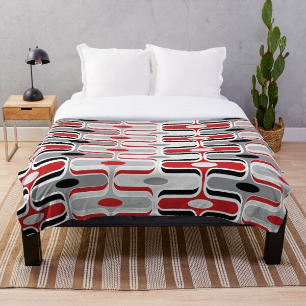 Retro Mod Ogee Red And Black Abstract Pod Pattern Throw Blanket