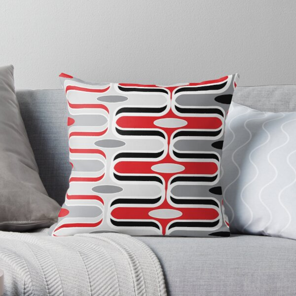 Retro Mod Ogee Red And Black Abstract Pod Pattern Throw Pillow