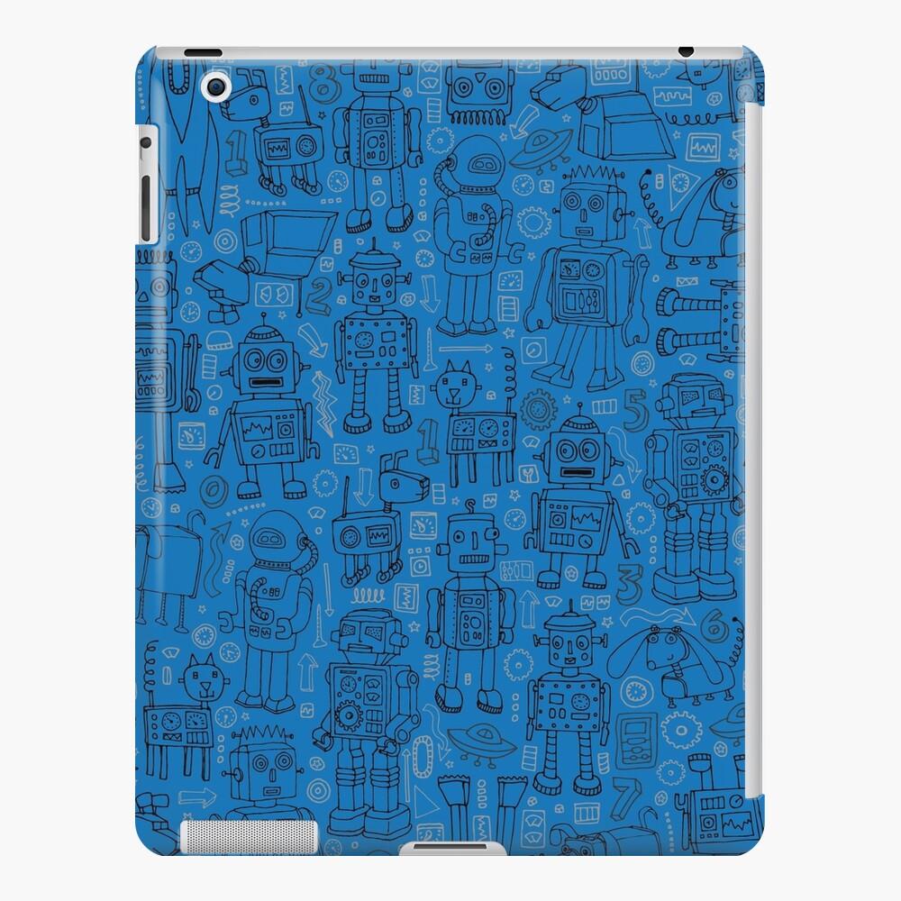 Robot pattern - Blue - fun pattern by Cecca Designs iPad Case & Skin