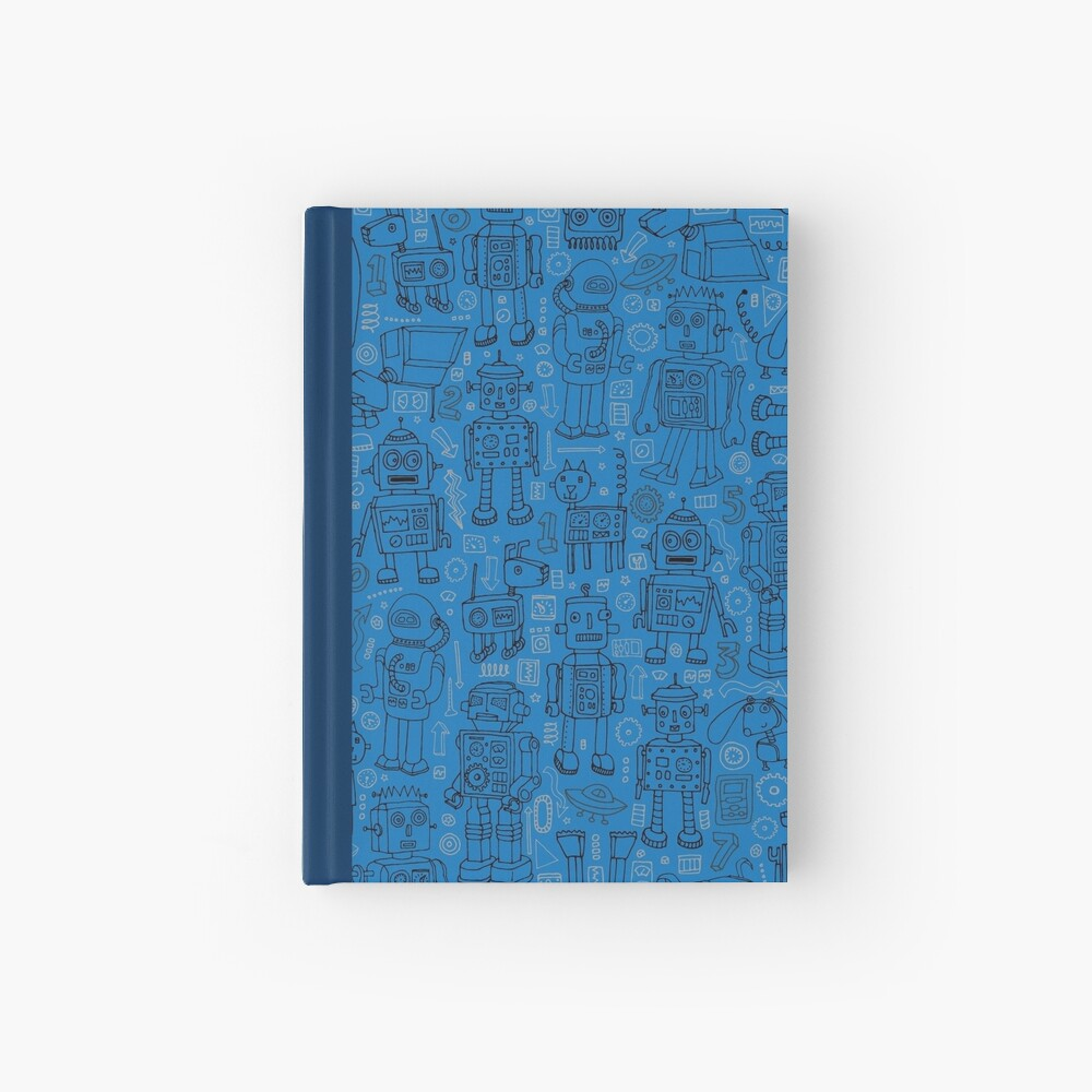 Robot pattern - Blue - fun pattern by Cecca Designs Hardcover Journal