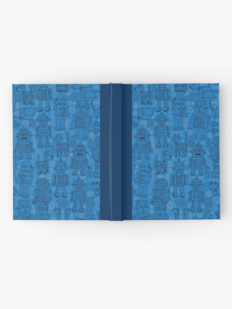 Alternate view of Robot pattern - Blue - fun pattern by Cecca Designs Hardcover Journal
