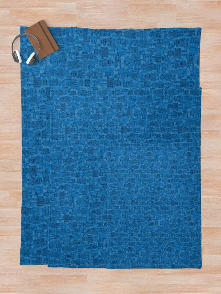 Alternate view of Robot pattern - Blue - fun pattern by Cecca Designs Throw Blanket