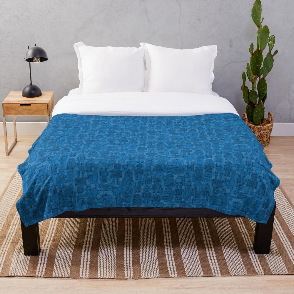 Robot pattern - Blue - fun pattern by Cecca Designs Throw Blanket