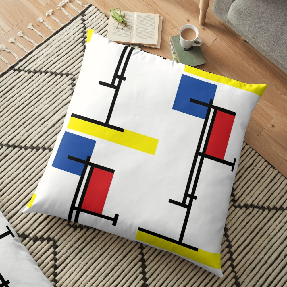 Mondrian Minimalist De Stijl Modern Art III © fatfatin Floor Pillow