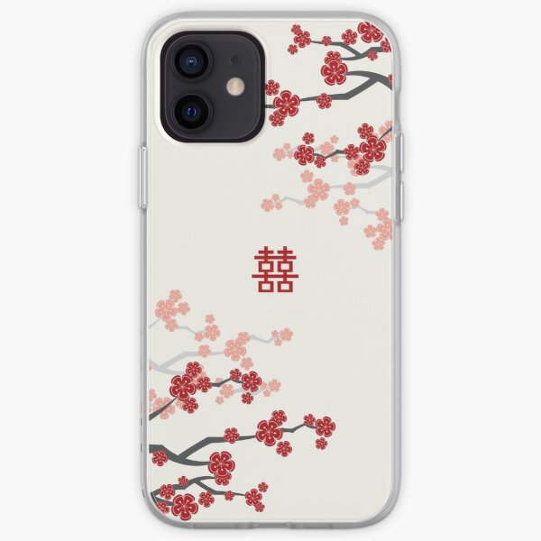 Red Oriental Cherry Blossoms on Ivory and Chinese Wedding Double Happiness | Japanese Sakura  iPhone Soft Case