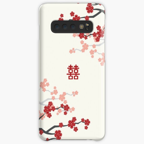 Red Oriental Cherry Blossoms on Ivory and Chinese Wedding Double Happiness | Japanese Sakura  Samsung Galaxy Snap Case