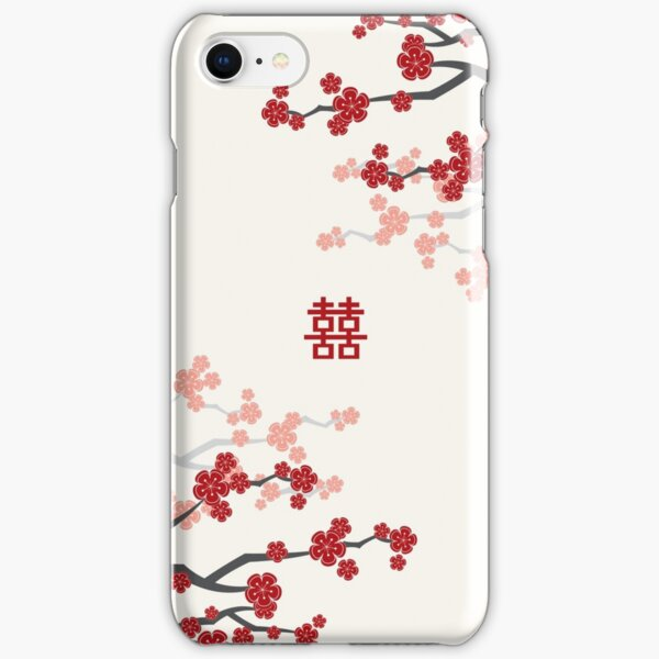 Red Oriental Cherry Blossoms on Ivory and Chinese Wedding Double Happiness | Japanese Sakura  iPhone Snap Case