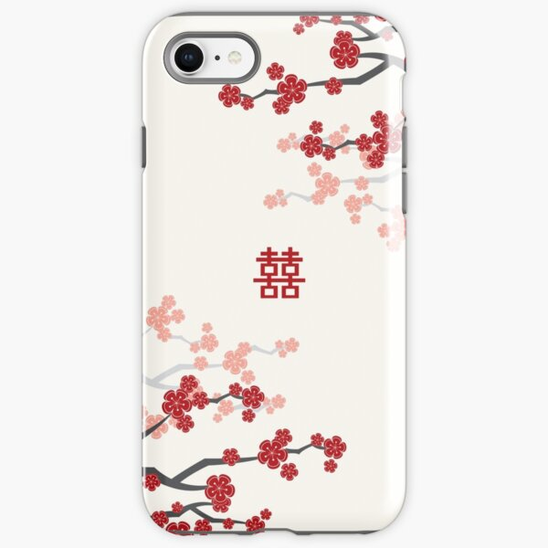 Red Oriental Cherry Blossoms on Ivory and Chinese Wedding Double Happiness | Japanese Sakura  iPhone Tough Case