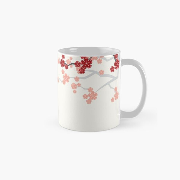 Red Oriental Cherry Blossoms on Ivory and Chinese Wedding Double Happiness | Japanese Sakura  Classic Mug