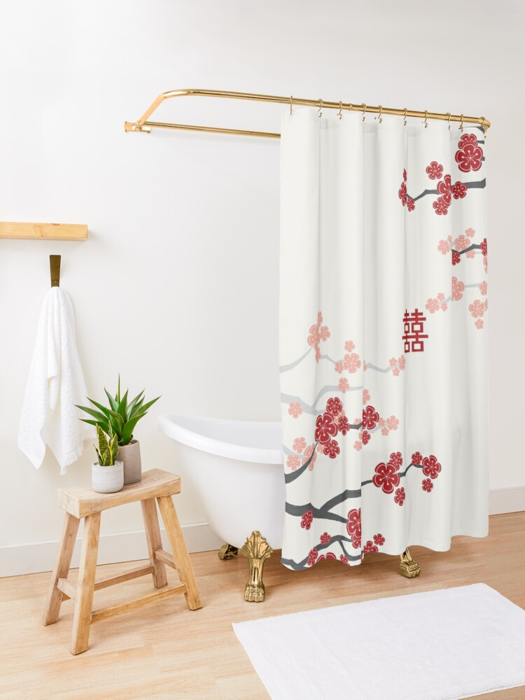 Alternate view of Red Oriental Cherry Blossoms on Ivory and Chinese Wedding Double Happiness | Japanese Sakura  Shower Curtain