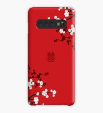 White Oriental Cherry Blossoms on Red and Chinese Wedding Double Happiness | Japanese Sakura  Case/Skin for Samsung Galaxy