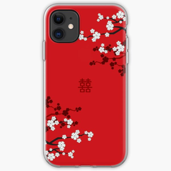 White Oriental Cherry Blossoms on Red and Chinese Wedding Double Happiness | Japanese Sakura © fatfatin  iPhone Soft Case