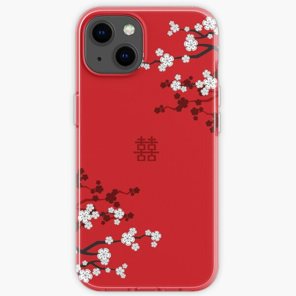 White Oriental Cherry Blossoms on Red and Chinese Wedding Double Happiness   Japanese Sakura © fatfatin  iPhone Soft Case