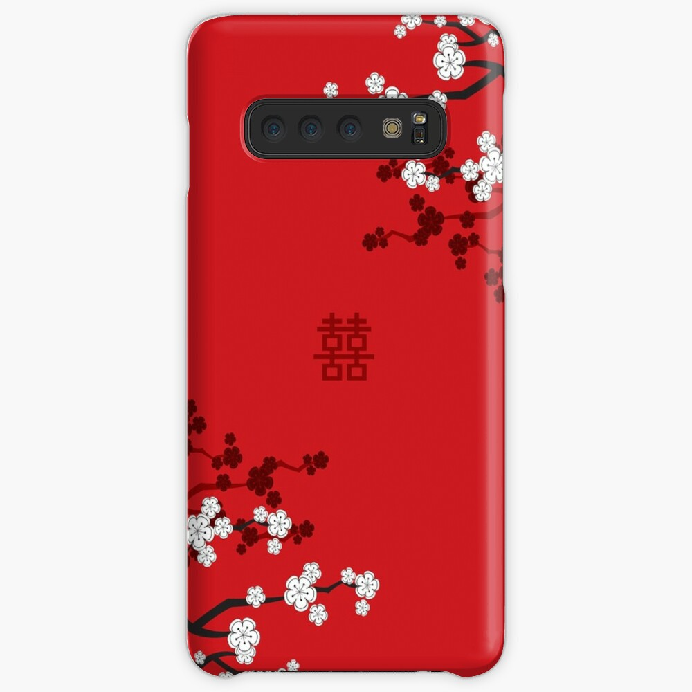 White Oriental Cherry Blossoms on Red and Chinese Wedding Double Happiness | Japanese Sakura  Case & Skin for Samsung Galaxy