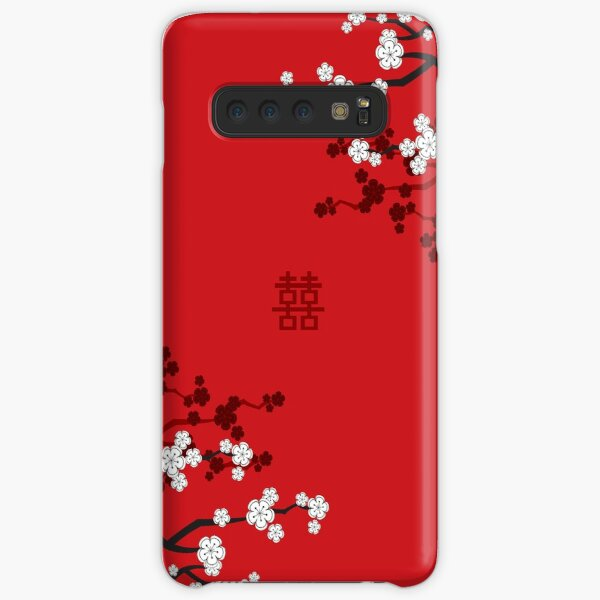 White Oriental Cherry Blossoms on Red and Chinese Wedding Double Happiness | Japanese Sakura © fatfatin  Samsung Galaxy Snap Case