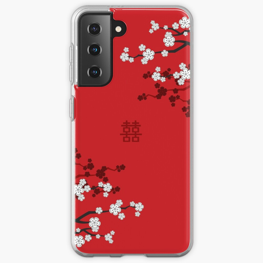 White Oriental Cherry Blossoms on Red and Chinese Wedding Double Happiness | Japanese Sakura © fatfatin  Case & Skin for Samsung Galaxy