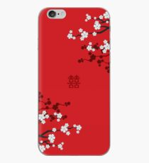 White Oriental Cherry Blossoms on Red and Chinese Wedding Double Happiness | Japanese Sakura  iPhone Case
