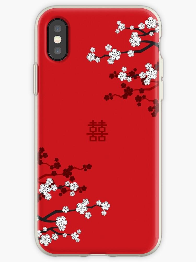 Weiße orientalische Kirschblüten auf rotem und chinesischem Hochzeits-doppeltem Glück | Japanische Sakura von fatfatin