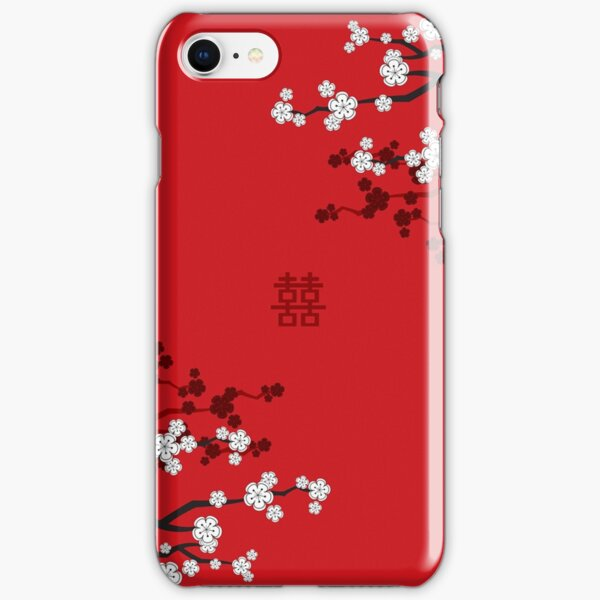 White Oriental Cherry Blossoms on Red and Chinese Wedding Double Happiness | Japanese Sakura © fatfatin  iPhone Snap Case