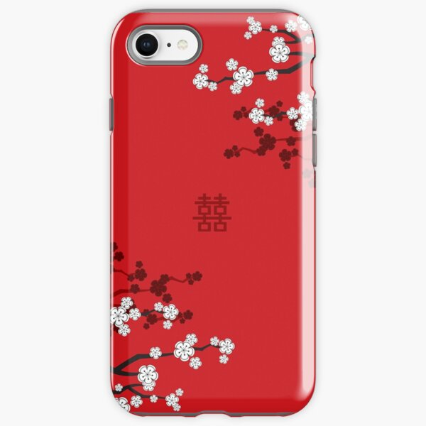 White Oriental Cherry Blossoms on Red and Chinese Wedding Double Happiness | Japanese Sakura © fatfatin  iPhone Tough Case